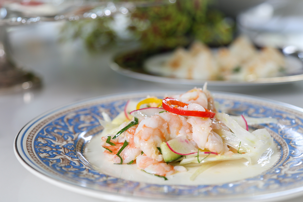 Chilled local shrimp with tarragon and vegetables