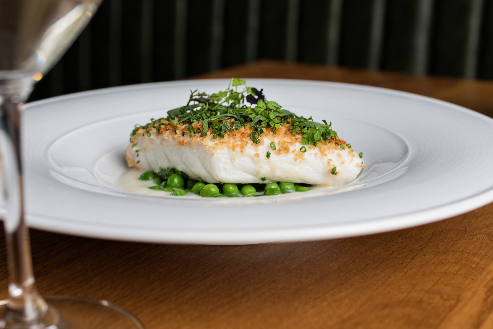 Grouper with Soubise and Field Peas